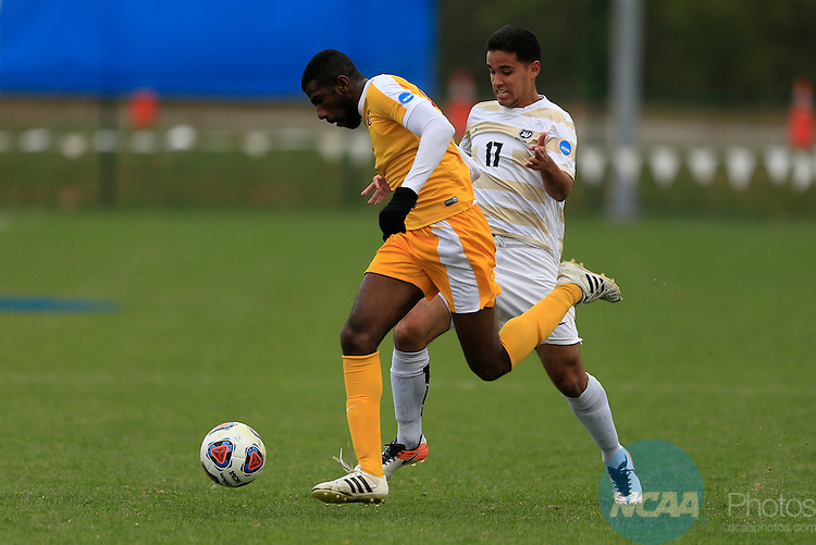 KANSAS CITY, MO - DECEMBER 03:  Mateo Correa (17) of Wingate University and Felipe Antonio (89) of the University of Charleston battle for the ball during the Division II Men's Soccer Championship held at Children's Mercy Victory Field at Swope Soccer Village on December 03, 2016 in Kansas City, Missouri. Wingate beat Charleston 2-0 to win the National Championship. (Photo by Jack Dempsey/NCAA Photos via Getty Images)