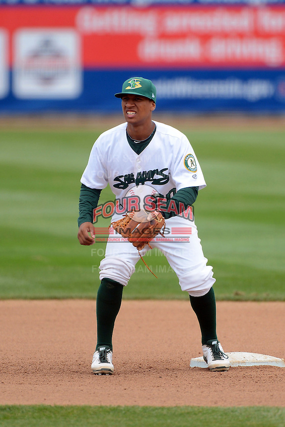 Beloit Snappers second baseman Chris Bostick #20 during a game against the Cedar Rapids Kernels on May 23, 2013 at Pohlman Field in Beloit, Wisconsin.  Beloit defeated Cedar Rapids 5-3.  (Mike Janes/Four Seam Images)