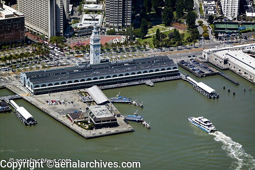 aerial photograph ferries arriving at San Francisco ferry building