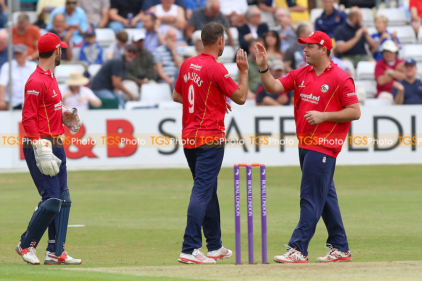 David Masters of Essex (C) is congratulated by his team mates after taking the wicket of Will Bragg during Essex Eagles vs Glamorgan, Royal London One-Day Cup Cricket at the Essex County Ground on 26th July 2016