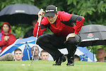 Justin Rose of England lines up his putt on the 16th hole during the final round of the BMW PGA Championship on the 27th of May 2007 at the Wentworth Golf Club, Surrey, England. (Photo by Manus O'Reilly/NEWSFILE)