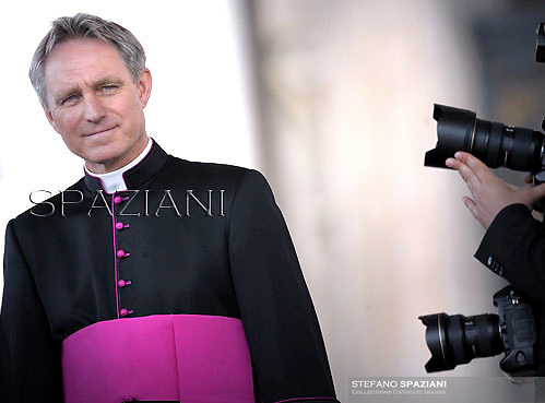 Monsignor Georg Gänswein private secretary to Pope Benedict XVI during his weekly general audience in St. Peter square at the Vatican, Wednesday. 18 April, 2012