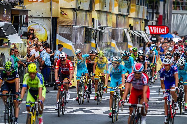 Vincenzo Nibali and his team-mates of Astana Pro Cycling crossing the last finish line of the Tour de France, Tour de France, Stage 21: Évry > Paris Champs-Élysées, UCI WorldTour, 2.UWT, Paris Champs-Élysées, France, 27th July 2014, Photo by Thomas van Bracht