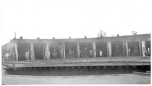 D&amp;RGW Durango roundhouse with #375, #476, #315, 2 others in stalls.<br /> D&amp;RGW  Durango, CO  Taken by Maxwell, John W. - 7/14/1946