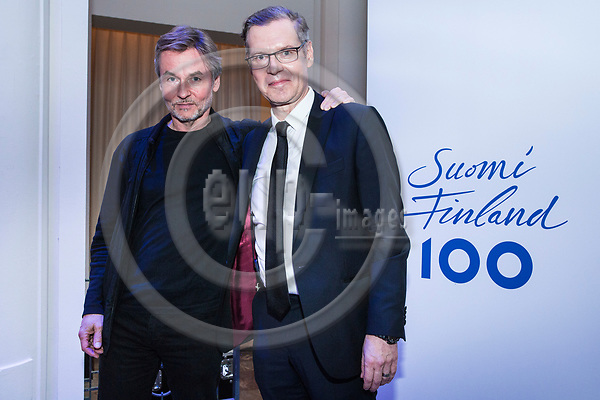 BRUSSELS - BELGIUM - 27 September 2017 -- Finland 100th Anniversary Reception and Concert of the Philharmonia Orchestra of London at the BOZAR. -- Esa-Pekka Salonen, Conductor of the Philharmonia Orchestra of London with Timo Ranta, Ambassador of Finland to Belgium. -- PHOTO: Juha ROININEN / EUP-IMAGES