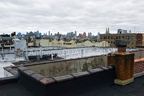 Brooklyn, New York.August 28, 2011..Brooklyn the morning after (hurricane) tropical storm Irene past over New York. ..Park Slope roof top over looks Manhattan skyline.