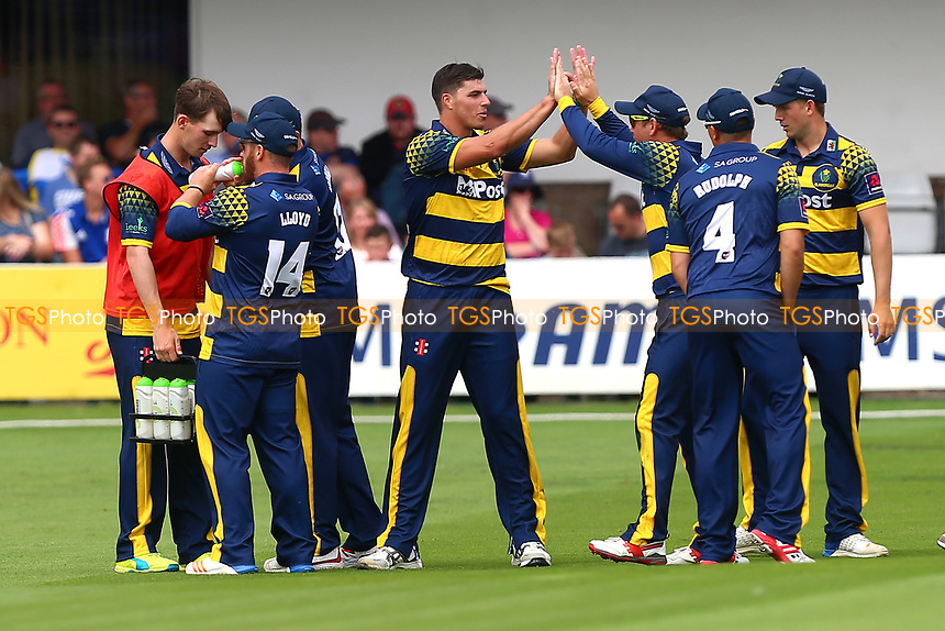 Marchant de Lange is congratulated by his team mates after taking the wicket of Tom Westley during Essex Eagles vs Glamorgan, NatWest T20 Blast Cricket at The Cloudfm County Ground on 16th July 2017