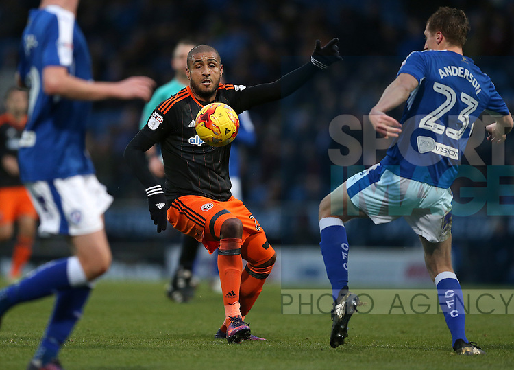 Leon Clarke of Sheffield Utd during the English League One match at the Proact Stadium, Chesterfield. Picture date: November 13th, 2016. Pic Simon Bellis/Sportimage