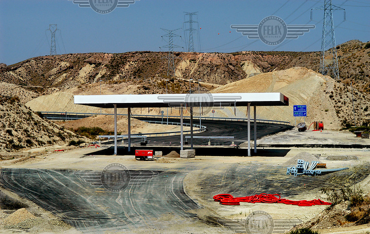Toll booths at an exit on the new (but still under construction) motorway between Vera (Almeria) and Cartagena (Murcia).