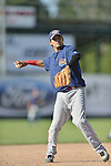 18 August 2012: Brooklyn Cyclones infielder Dimas Ponce warms up prior to a game against the Vermont Lake Monsters at Centennial Field in Burlington, Vermont. The Lake Monsters defeated the Cyclones 4-1 in NY Penn League action. Mandatory Credit: Ed Wolfstein Photo