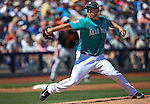 Seattle Mariners' Vidal Nuno pitches against the SF Giants in a spring training game in Peoria, Ariz., on Wednesday, March 16, 2016. <br />
