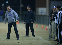 NWA Democrat-Gazette/ANDY SHUPE<br /> Elkins coach Chad Harbison directs his team against Fordyce Friday, Nov. 10, 2017, during the first half of play at John Bunch Jr. Memorial Field in Elkins. Visit nwadg.com/photos to see more photographs from the game.