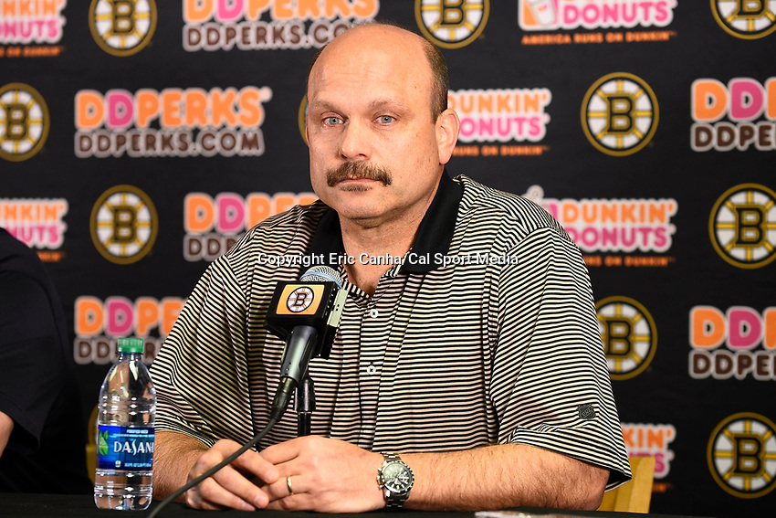 April 13, 2015 - Boston, Massachusetts, U.S. - Boston Bruins general manager Peter Chiarelli speaks to the press at the Boston Bruins final season press conference held at TD Garden in Boston Massachusetts. Eric Canha/CSM