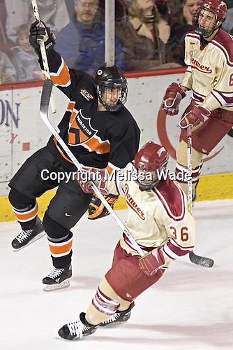 Landis Stankievech celebrates (Julian Marcuzzi, Jon James) - The Princeton University Tigers defeated the University of Denver Pioneers 4-1 in their opening game of the Denver Cup on Friday, December 30, 2005 at Magness Arena in Denver, Colorado.