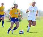 BROOKINGS, SD - AUGUST  22: Shelby Raper #4 from South Dakota State University controls the ball in front of Maggie Fuller #9 from Green Bay in the first half of their game Sunday afternoon at Fischback Soccer Field in Brookings. (Photo by Dave Eggen/Inertia)
