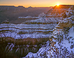 Grand Canyon National Park, AZ   <br /> Winter sunrise breaks over Cedar Ridge, from Mather Point