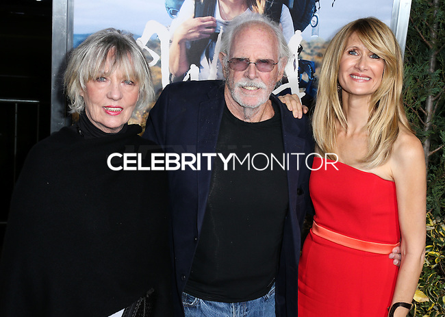 BEVERLY HILLS, CA, USA - NOVEMBER 19: Andrea Beckett, Bruce Dern, Laura Dern arrive at the Los Angeles Premiere Of Fox Searchlight Pictures' 'Wild' held at the AMPAS Samuel Goldwyn Theater on November 19, 2014 in Beverly Hills, California, United States. (Photo by Xavier Collin/Celebrity Monitor)