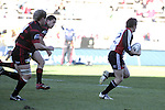 Kane Hancy makes a big break upfield during the Ranfurly Shield challenge against Canterbury at Jade Stadium on the 10th of September 2006. Canterbury won 32 - 16.