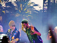 Kid Cudi comes out for a quick dancing appearance during MGMT's set on Saturday, April 19th.