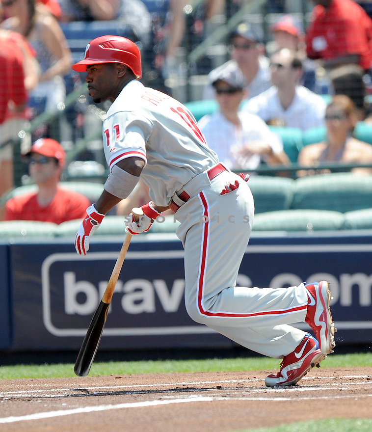 JIMMY ROLLINS, of the Philadelphia Phillies, in action during the Phillies game against the Atlanta Braves on April 10, 2011 at Turner Field in Atlanta Georgia.  The Phillies beat the Braves 3-0.