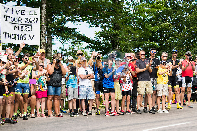 Thomas Voeckler (FRA) fans during Stage 7 of the 104th edition of the Tour de France 2017, running 213.5km from Troyes to Nuits-Saint-Georges, France. 7th July 2017.<br /> Picture: ASO/Alex Broadway | Cyclefile<br /> <br /> <br /> All photos usage must carry mandatory copyright credit (&copy; Cyclefile | ASO/Alex Broadway)