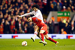 Marouane Fellaini of Manchester United battles Adam Lallana of Liverpool during the UEFA Europa League match at Anfield. Photo credit should read: Philip Oldham/Sportimage