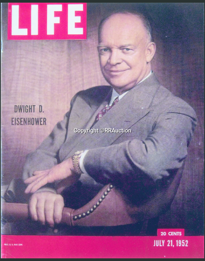 BNPS.co.uk (01202 558833)<br /> Pic: RRAuction/BNPS<br /> <br /> ***Please Use Full Byline***<br /> <br /> President Dwight D. Eisenhower (left) wearing the Rolex on the front cover of LIFE magazine in 1957. <br /> <br /> A solid gold Rolex watch given to WWII leader Dwight D. Eisenhower for helping save Europe from the Nazis is set to become the world's most expensive after it emerged for sale.<br /> <br /> The 18-carat timepiece is said to be the most valuable and historically significant ever made by the renowned Swiss watchmakers - and is now set to sell for more than a million dollars when it is auctioned for the first time ever.<br /> <br /> It was gifted to American military mastermind Eisenhower by Rolex in 1951, seven years after he successfully led the Allied forces in the D-Day landings.<br /> <br /> It is tipped to smash the world record for a Rolex watch set last year when a rare 1949 Rolex Oyster Perpetual sold for $1.2 million - around 740,000 pounds - when it goes under the hammer at RR Auction.