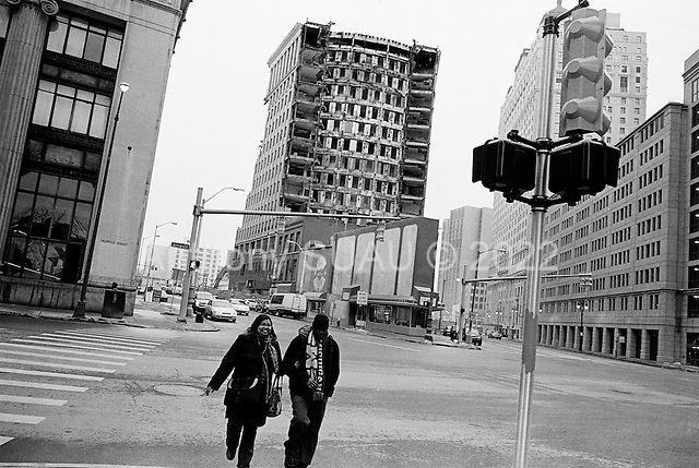 Detroit, Michigan<br /> USA<br /> January 15, 2010<br /> <br /> The remains of downtown Detroit as another historic old building is torn down.