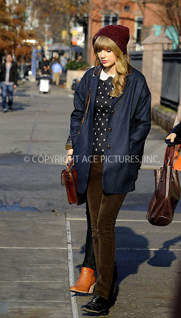 WWW.ACEPIXS.COM....December 4 2012, New York City....Singer Taylor Swift was out in Chelsea on December 4 2012 in New York City....By Line: Curtis Means/ACE Pictures......ACE Pictures, Inc...tel: 646 769 0430..Email: info@acepixs.com..www.acepixs.com