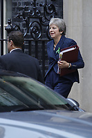 Theresa May leaves Downing Street toay is facing the Commons for the first time since the EU rejected her Brexit plan, amid mounting pressure from some Tory MPs to change course.<br /> A week before a crucial meeting of EU leaders, the prime minister shows no sign of abandoning her proposals.<br /> Former Brexit Secretary David Davis has warned of &quot;dire&quot; electoral consequences for the party if she persists with her model for trade with the EU.<br /> But ministers say the UK and the EU are &quot;closing in on workable solutions&quot;.<br /> Health Secretary Matt Hancock told BBC Radio 4's Today the &quot;whole nation&quot; should get behind Theresa May as she strove to get the best deal for the country in &quot;difficult circumstances&quot;.<br /> London, England, UK on October 10, 2018.<br /> CAP/GOL<br /> &copy;GOL/Capital Pictures