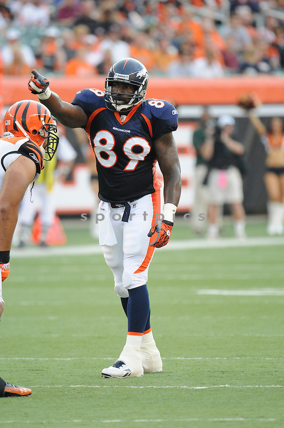 DANIEL GRAHAM, of the Denver Broncos  in action during the Broncos game against the Cincinnati Bengals at Paul Brown Stadium in Cincinnati, OH.  on August 20, 2010.  The Bengals beat the Broncos 22-9 in the second week of preseason games...