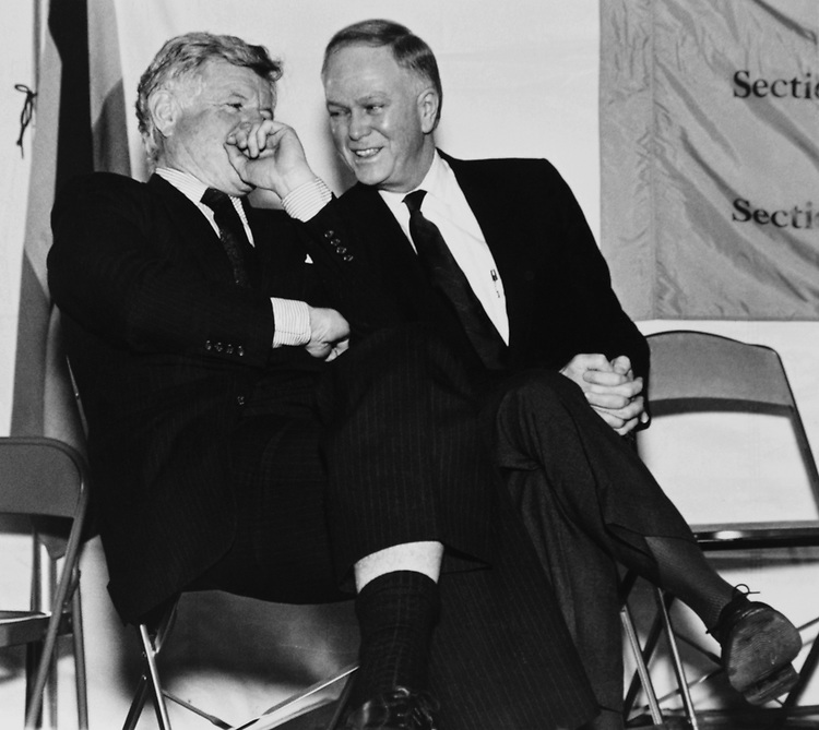 Sen. Ted Kennedy, D-Mass., with Sen. Bob Packwood, R-Ore., talking to each other. (Photo by Laura Patterson/CQ Roll Call via Getty Images)