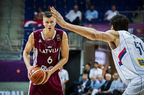 1st September 2017, Fenerbahce Arena, Istanbul, Turkey; FIBA Eurobasket Group D; Serbia versus Latvia; Power Forward Kristaps Porzingis #6 of Latvia in action during the match