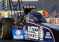 Feb. 14, 2013; Pomona, CA, USA; Detailed view of the canopy on the car of NHRA top fuel dragster driver Antron Brown during qualifying for the Winternationals at Auto Club Raceway at Pomona.. Mandatory Credit: Mark J. Rebilas-