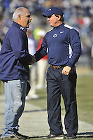 12 November 2011:  Penn State interim head coach Tom Bradley shakes hands with former PSU player Matt Suhey.. .The Nebraska Cornhuskers defeated the Penn State Nittany Lions 17-14 at Beaver Stadium in State College, PA..