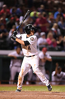 Tri-City ValleyCats shortstop Mott Hyde (4) at bat during a game against the Batavia Muckdogs on August 2, 2014 at Joseph L. Bruno Stadium in Troy, New  York.  Tri-City defeated Batavia 8-4.  (Mike Janes/Four Seam Images)