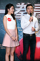 Launch of the MMA movie 'Fist of Youth' in Hong Kong. Co-stars chat about the film. L to R Shirley Chan and A-Wei (Liu Jun Wei) from Lollipop F ,a Taiwanese Mandopop boy band. Hong Kong on August 26, 2016