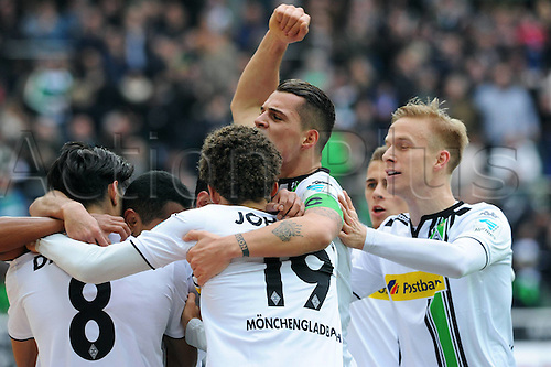 20.02.2016. Borussia Park, Mönchengladbach, North Rhine-Westphalia, Germany. Bundesliga football, Borussia Moenchengladbach verus Cologne. Celebrations from Mahmoud Dahoud Gladbach After his goal for 1-0  with Raphael Gladbach Fabian Johnson Gladbach Granite Xhaka Gladbach Oscar Wendt