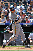 08 June 08: Milwuakee Brewers outfielder Ryan Braun at bat against the Colorado Rockies. The Brewers defeated the Rockies 3-2 at Coors Field in Denver, Colorado. For EDITORIAL use only