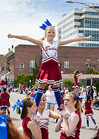 Bruins Girls Cheer Squad, Colors of Freedom Parade, 4th of July, Everett, WA, USA.
