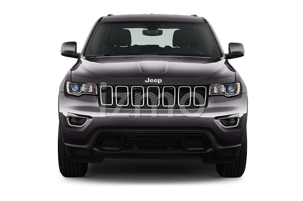 Car photography straight front view of a 2019 JEEP Grand-Cherokee Laredo-E 5 Door SUV Front View
