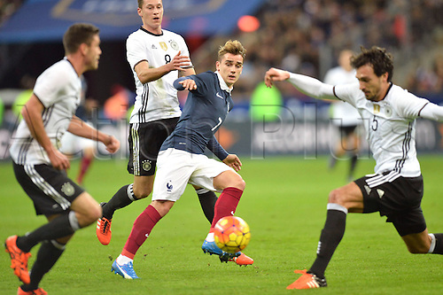 13.11.2015. Stade de France, Paris, France. International football friendly. France versus Germany.  ANTOINE GRIEZMANN . The game was parially interupted as the paris terror attacks took place and bombs were heard going off outside the stadium.