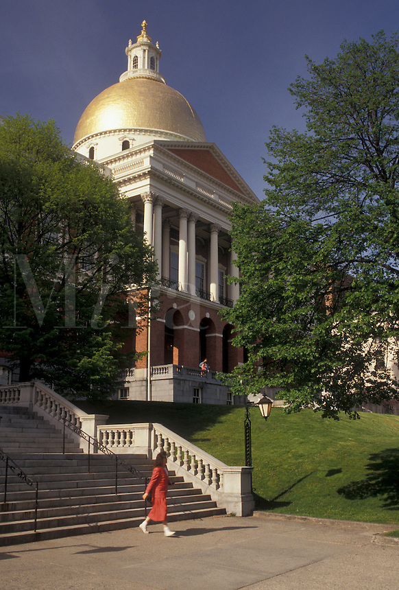 AJ3513, Boston, State House, State Capitol, Massachusetts, The State House with its golden dome in the capital city of Boston in the state of Massachusetts.