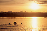Seattle, Rowers in a pair, sunrise, Lake Washington, Cascade Mountains in distance, Washington State, Pacific Northwest, USA