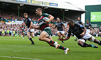Leicester Tigers' Jonny May scores his side's second <br /> <br /> Photographer Stephen White/CameraSport<br /> <br /> Gallagher Premiership Round 2 - Leicester Tigers v Newcastle Falcons - Saturday September 8th 2018 - Welford Road - Leicester<br /> <br /> World Copyright &copy; 2018 CameraSport. All rights reserved. 43 Linden Ave. Countesthorpe. Leicester. England. LE8 5PG - Tel: +44 (0) 116 277 4147 - admin@camerasport.com - www.camerasport.com