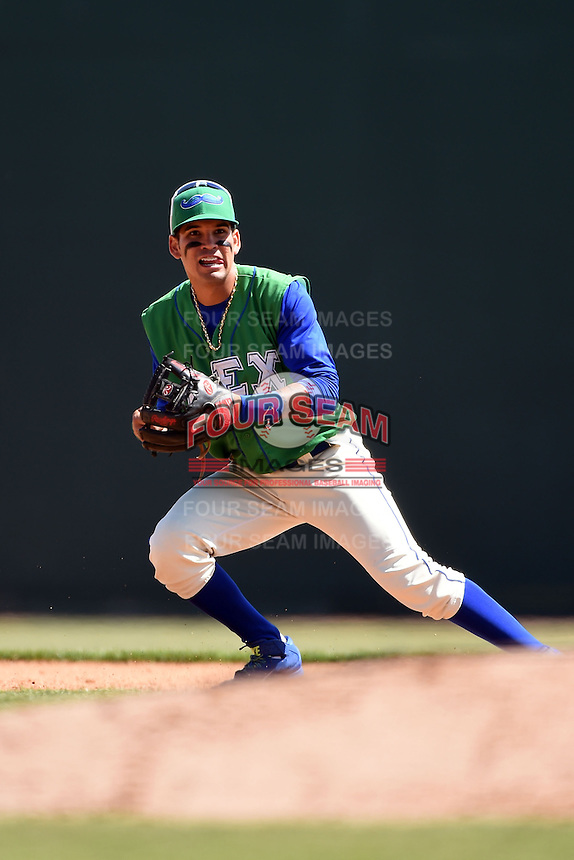 Lexington Legends shortstop Humberto Arteaga (1) during a game against the Hagerstown Suns on May 19, 2014 at Whitaker Bank Ballpark in Lexington, Kentucky.  Lexington defeated Hagerstown 10-8.  (Mike Janes/Four Seam Images)