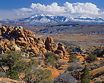 Arches National Park, UT<br /> View of Salt Valley and LaSal mountains from the Fiery Furnace