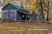 63895-16503 Cabin at Log Cabin Village in fall Kinmundy IL