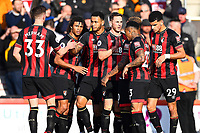 Joshua King of AFC Bournemouth is congratulated by Chris Mepham of AFC Bournemouth after scoring the first goal during AFC Bournemouth vs Wolverhampton Wanderers, Premier League Football at the Vitality Stadium on 23rd February 2019