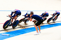 Picture by Alex Whitehead/SWpix.com - 08/12/2017 - Cycling - UCI Track Cycling World Cup Santiago - Velódromo de Peñalolén, Santiago, Chile - USA's Daniel Holloway, Adrian Hegyvary, Ashton Lambie and Gavin Hoover compete in the Men's Team Pursuit qualification.